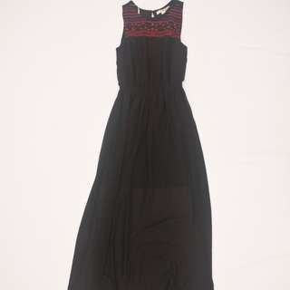Forever 21 - Contemporary - Black Backless Sheer Maxi Dress