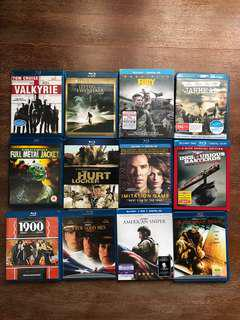 12 Bluray Movies (mainly war titles)