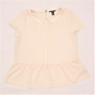 Forever 21 Cream Peplum Top with Collar