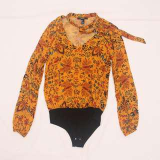 FOREVER 21 Mustard Yellow Floral Top (bodysuit-type)