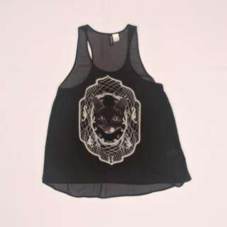 H&M Divided Sheer Black Cat Tank Top