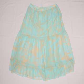 H&M Sheer Blue Floral Printed Skirt