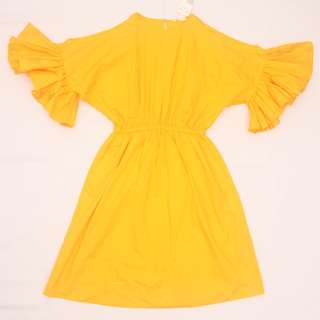 H&M Yellow Cold Shoulder Ruffle Dress