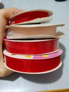 紅色粉紅色絲帶4卷