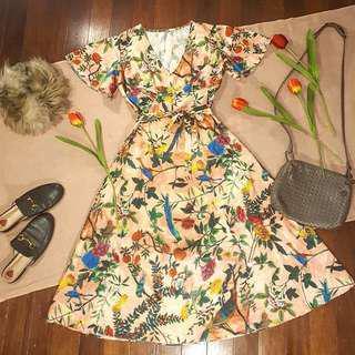 Floral Satin Midi Dress