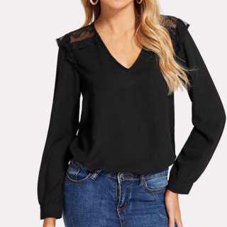 Shein Black Lace Back Top
