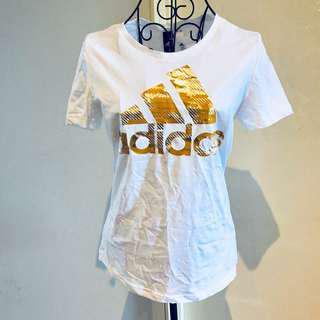 Adidas White/Gold T-Shirt (size XS) (brand new with tags)
