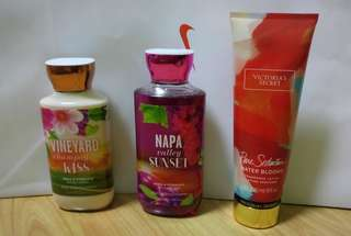 Victoria Secret and Bath and Body Works Lotion and Shower Gel