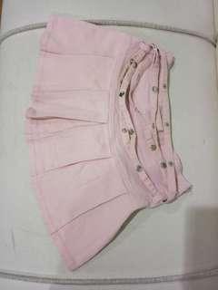Rok Soft pink jeans mini skirt