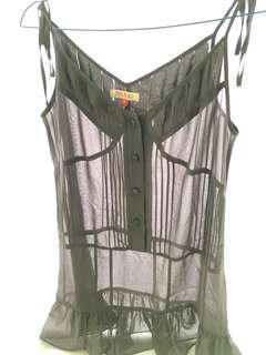 (X) SML - Grey sleeveless top (atasan tidak berlengan) see through