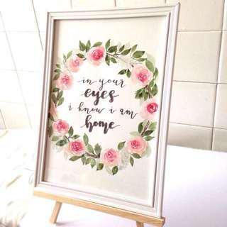 Custom framed painting with calligraphy