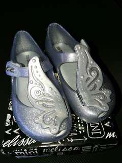 Mini Melissa Glitter Silver Toddler Shoes