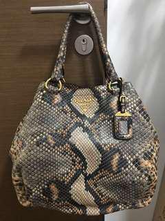 Prada snake skin print handbag