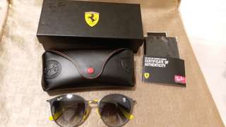 Ray Ban RB 3062 FERARRI LIMITED EDITION,LIGHT GRAY LENS AND FRAME,YELLOW TEMPLE
