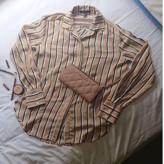 FOREVER 21 - Plain or Printed Nude Stripes Loose Top or Classy Elegant Sossy Cute Blouse ( can be for smart casual / office work attire / summer or winter style / evening or night party event wear )