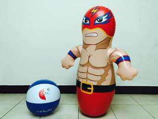 充氣不倒翁超人+海灘沙灘球氣球