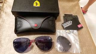 Ray Ban original RB 3460 FERARRI LIMITED EDITION LILAC LENS SILVER FRAME WITH FREE EXTRA LENS
