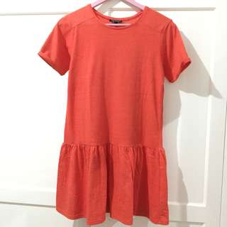 TOPSHOP Coral Drop Waist Dress