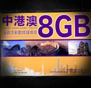 中港澳4G 8GB年卡