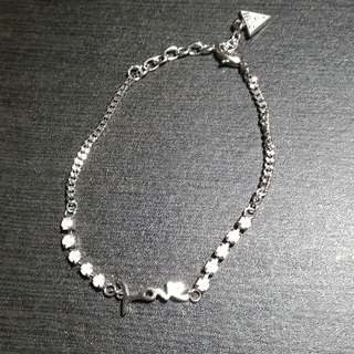 AUTHENTIC GUESS CRISTAUX LOVE SILVER TONE 7 to 9 inches adjustable BRACELET- SEND YOUR MONEY BACK IF FAKE