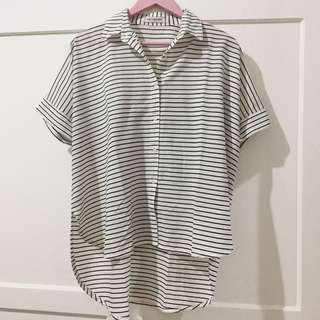 COTTON INK Asimetris Stripe Top