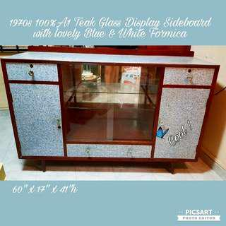 1970s 100% A1 Teakwood Pencil-Leg Glass Display Cabinet with Beautiful Bright Blue Pattern Formica. Size as in photos.  $348 clearance offer, sms 96337309.