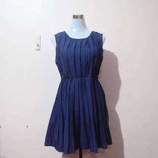 Pleated Navy Blue Cocktail Dress