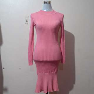 Pink Ribbed Bodycon Mermaid Dress