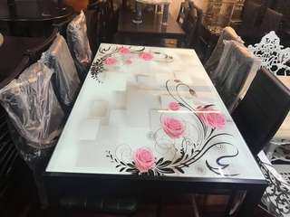 6 seater fiber glass dining table