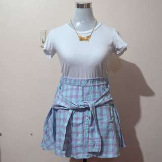 Korean Plaid Pastel Skirt