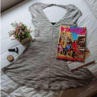 FOREVER 21 - Plain Gray Short Sleeves Sexy Fit Dress Classy Elegant Stretchable Short Bodycon ( can be for smart casual / semi formal / office work inner attire / winter style / night or evening party event wear )