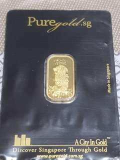 Puregold.sg SG Merlion SEA 999.9 5g Pure Gold Bar