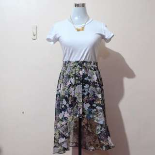 ZARA WOMAN Hi-Low Floral Skirt