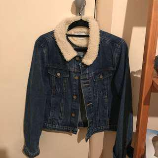 Cropped denim shearling Abrand jacket