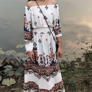 CAMBODIA BRAND - Printed Aztec Off Shoulder White Long Sleeves Loose Baggy Stretchable Maxi Dress (can be for smart casual / summer style / office work attire )