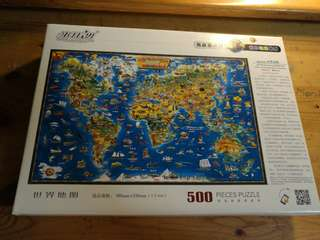 Brand new Puzzle 500 pieces of world map (從淘寶商家米開朗購買)