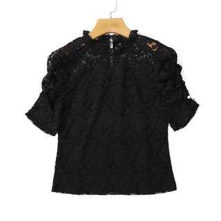 黑色蕾絲上衣/black lace blouse