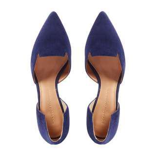2204b2ec070 BN Sigerson Morrison d orsay blue suede wedge heels