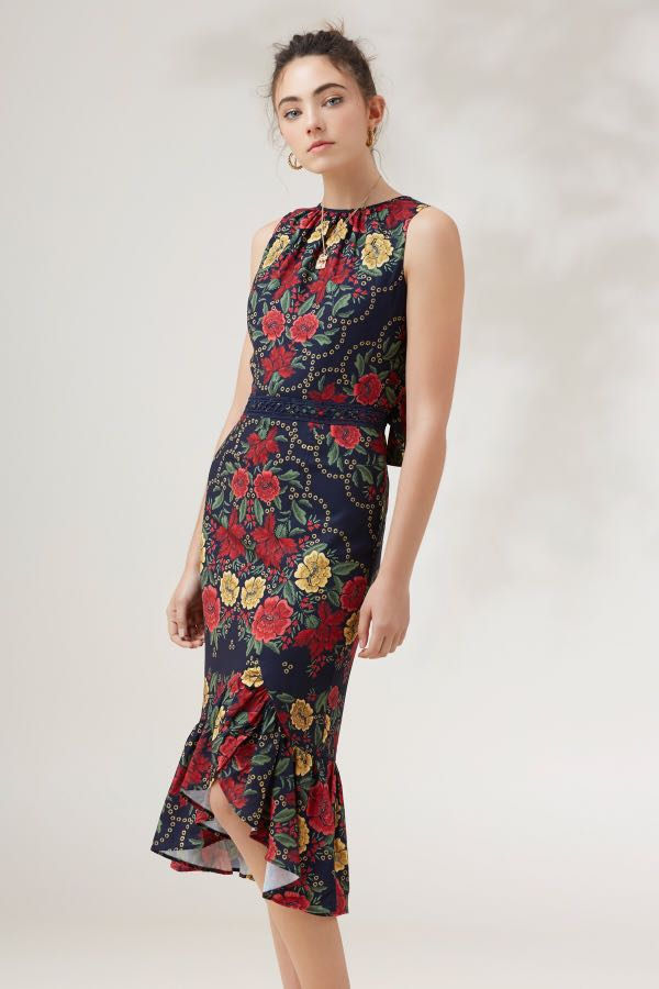 1d0eddaf9414 Arcadia Midi Navy Floral Dress by Finders Keepers, Women's Fashion ...