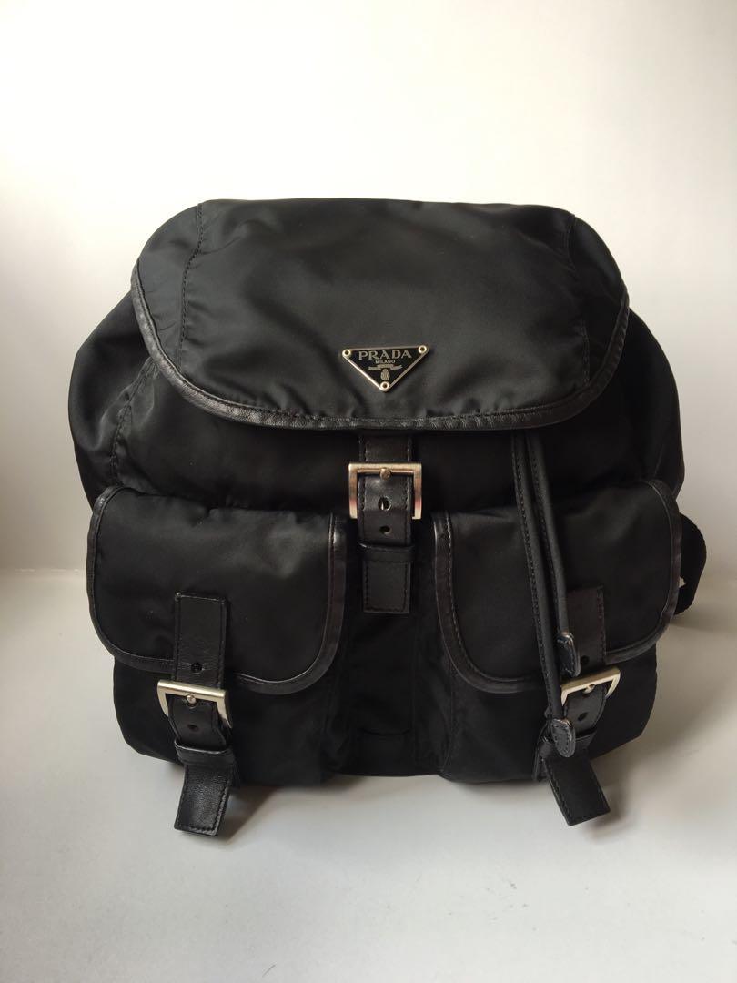 ad79a0070eb0 Authentic Prada Vela Black Nylon Medium Backpack, Luxury, Bags ...