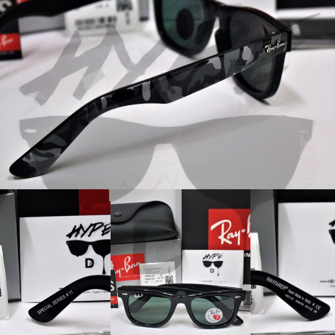9d42b242547c1 Authentic Ray Ban Wayfarer Urban Camouflage RB2140 6066 58 Polarized Black  50MM Medium