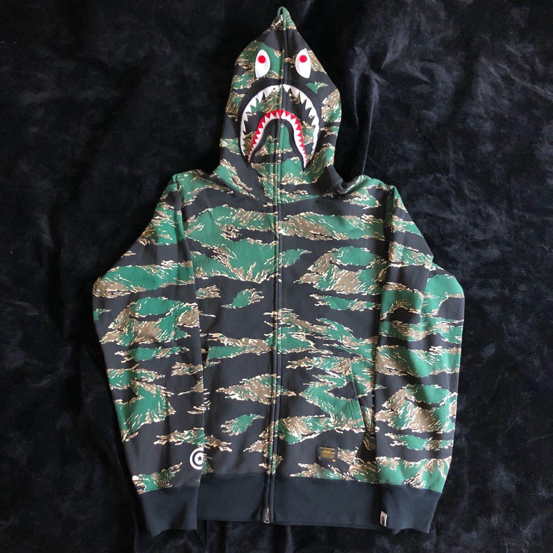 c8893a2e0340 Bape Tiger Camo Shark Hoodie