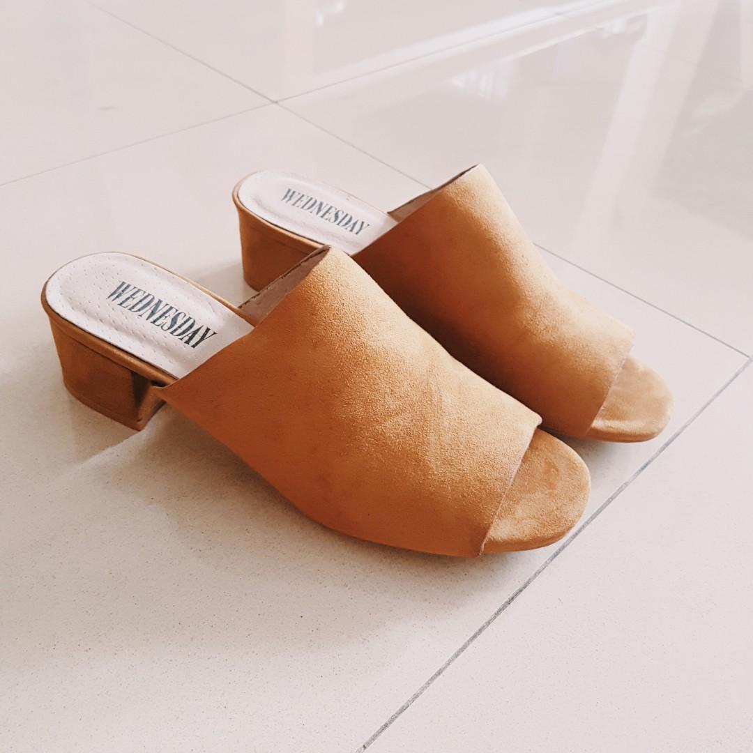 1367dd8a303 Caramel brown faux suede block heel mules EU38-39 (FREE MAIL ...