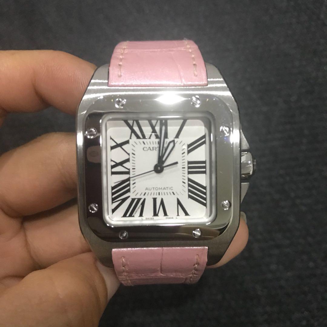 ebc96cbe4fa7b Cartier Ladies Santos 100 pink alligator strap watch, Luxury ...