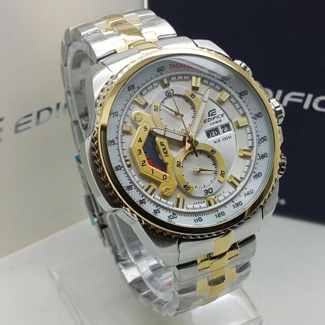 Casio Edifice 558 Half Gold White Men S Fashion Watches On Carousell