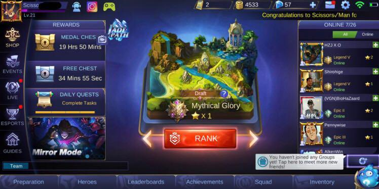 🔥FLASH SALE MYTHICAL GLORY ACCOUNT🔥 Mobile Legends, Toys