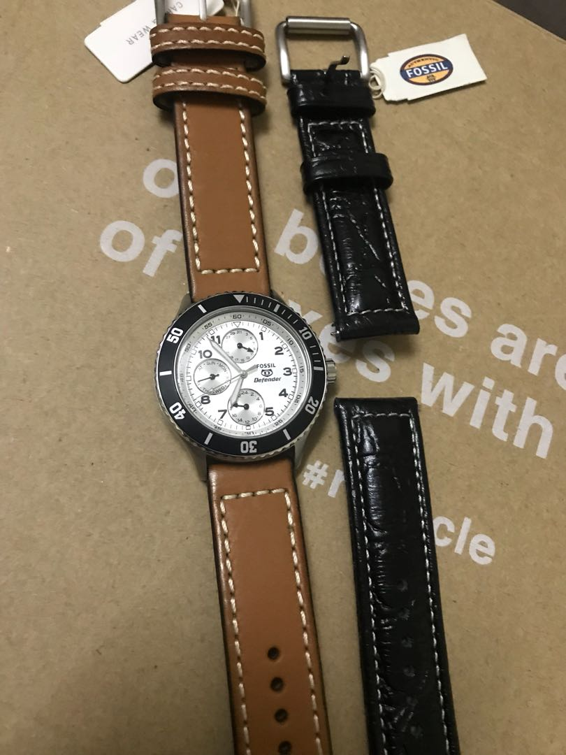 Free Strap Worth Rm149 Fossil Unisex Watch Mens Fashion Watches Jam Tangan Fs4812 Grant Chronograph Black Dial Leather Home Photo