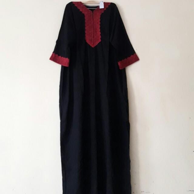Gamis Renda Daster Arab Renda Red Lengan 3 4 Women S Fashion
