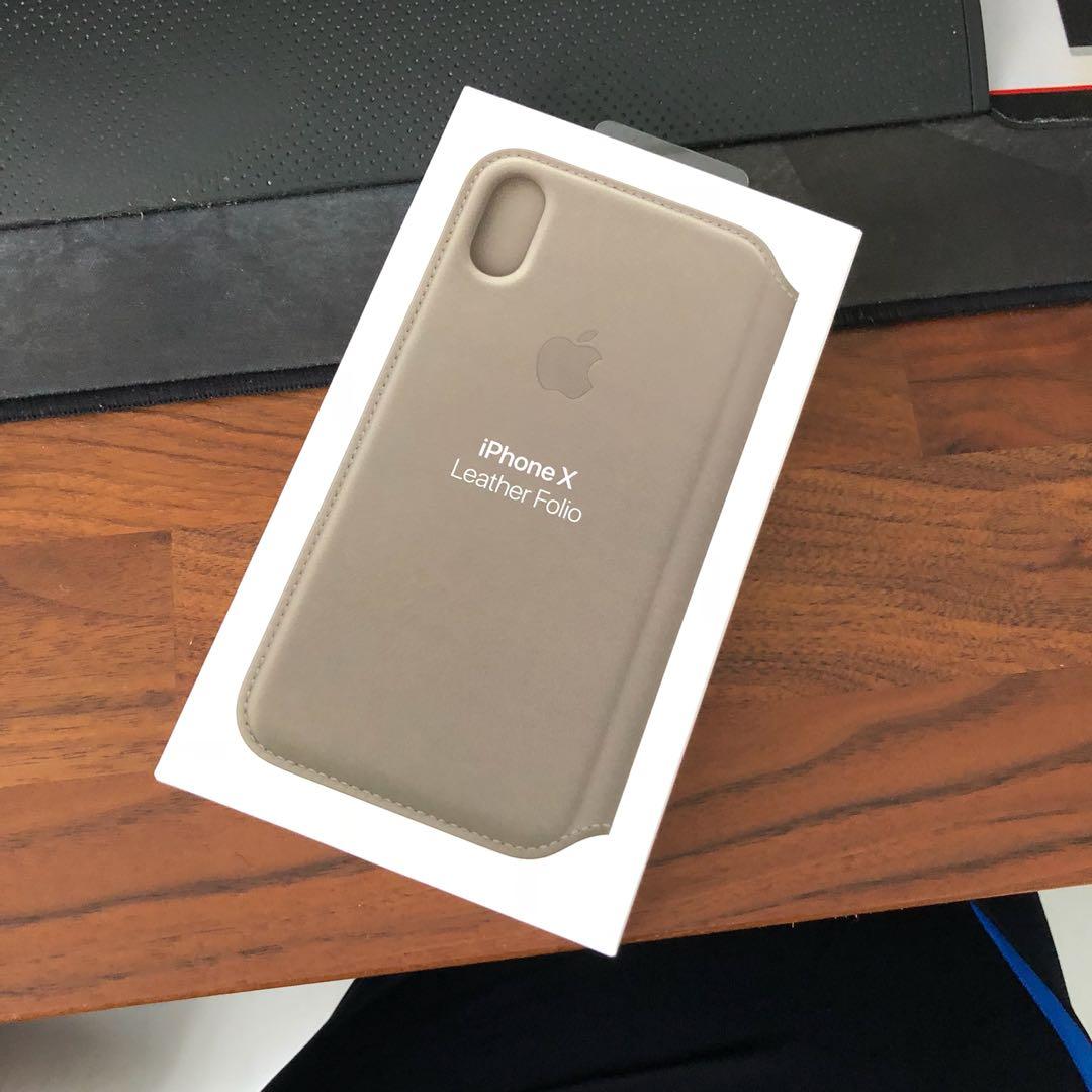 huge discount 6d1e3 77ff7 Original Apple iPhone X Leather Folio Case Taupe