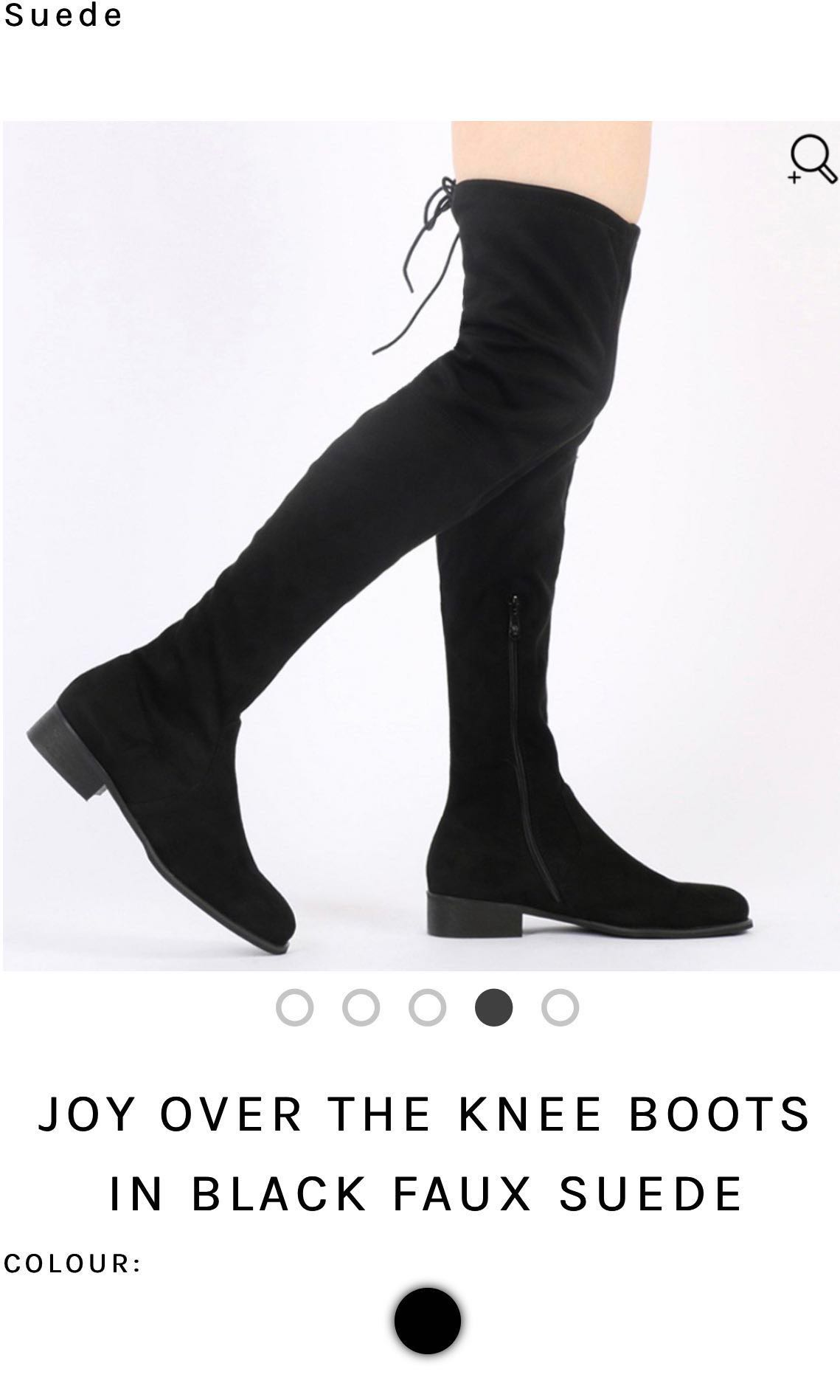 feebaa92a89 Joy over the knee boots in black faux suede, Women's Fashion, Shoes ...